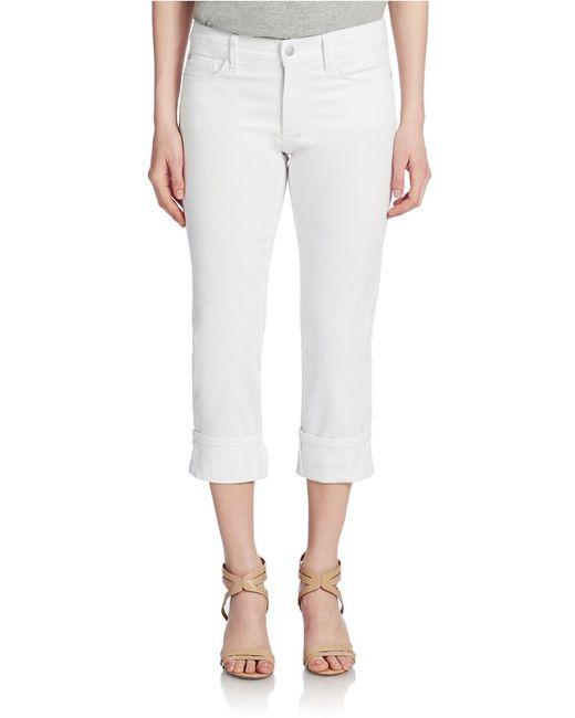 NYDJ | White Wide Cuff Capri Jeans | Lyst