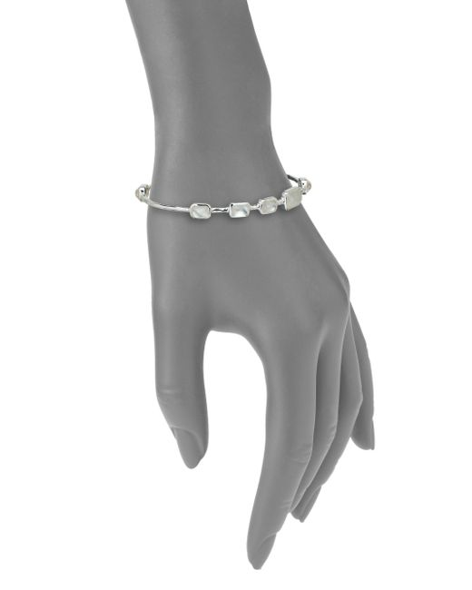 Ippolita   Metallic Rock Candy Mother-of-pearl, Clear Quartz & Sterling Silver Rectangle Doublet Station Bangle Brac   Lyst