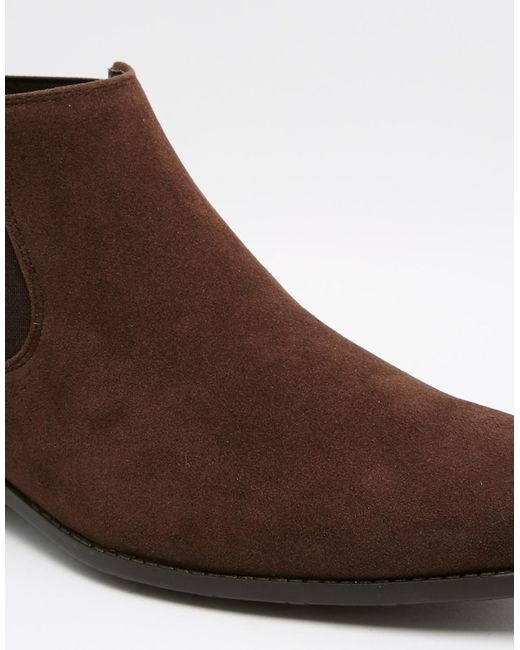 asos chelsea boots in brown faux suede in brown for lyst
