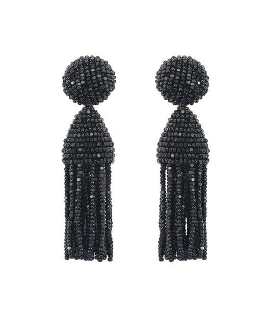 Oscar de la Renta   Black Silver Classic Short Tassel Earrings   Lyst