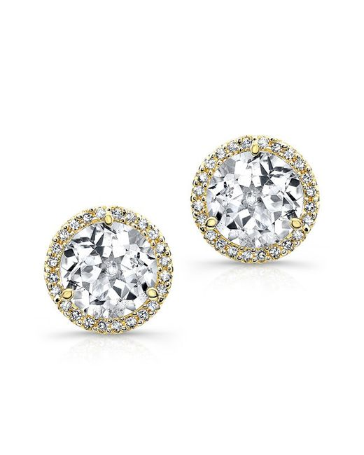 Anne Sisteron | Metallic 14kt Yellow Gold White Topaz Diamond Stud Earrings | Lyst