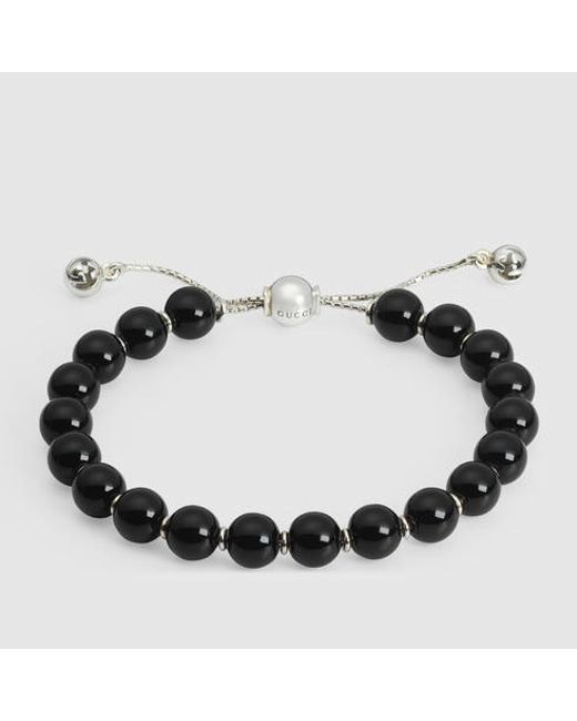 Gucci | Black Bracelet With Wooden Beads | Lyst