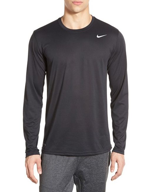 Nike 39 legend 2 0 39 long sleeve dri fit training t shirt in for Black fitted long sleeve t shirts