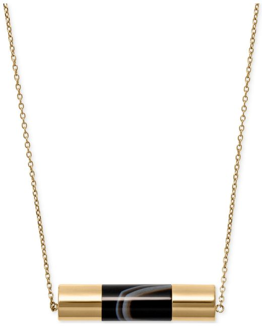 Michael Kors | Metallic Gold-tone Black Stone Cylinder Pendant Necklace | Lyst