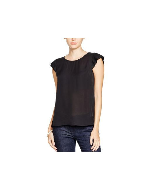 Joie   Black Nesrin Pleated Sleeve Silk Top   Lyst
