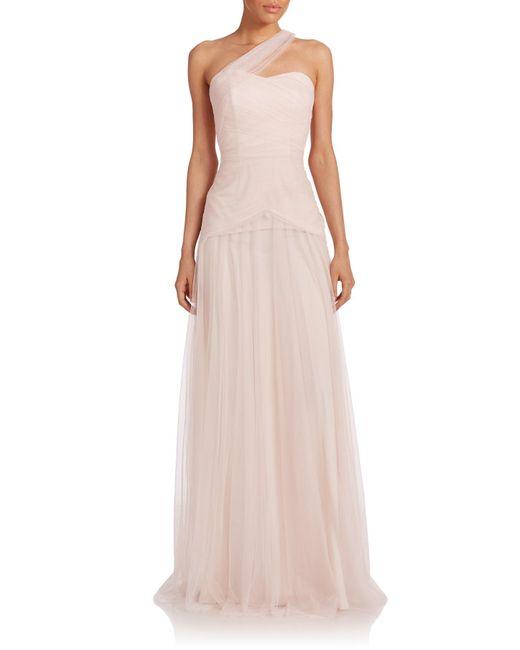 Monique Lhuillier Bridesmaids | Pink One-shoulder Tulle Gown | Lyst