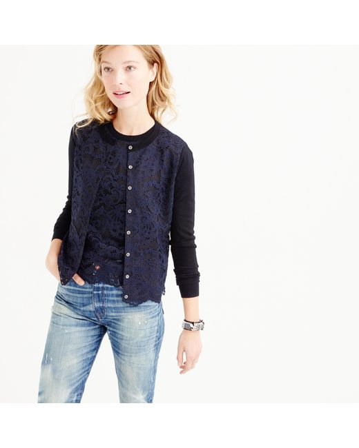 J.Crew | Blue Petite Lace Panel Cardigan Sweater | Lyst