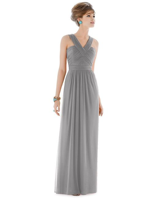 Alfred Sung | Gray D Dress In Quarry | Lyst