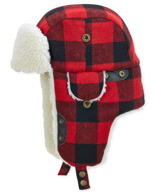 Woolrich | Red Buffalo Check Aviator Hat With Fleece Lining for Men | Lyst