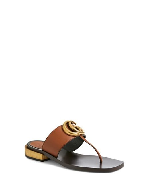 Gucci | Brown 'marmont' Sandal | Lyst