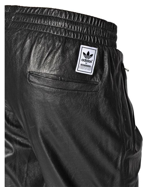 Adidas Originals Straight Leather Pants In Black For Men