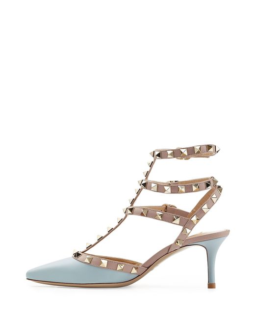 valentino rockstud leather kitten heel pumps in blue lyst. Black Bedroom Furniture Sets. Home Design Ideas