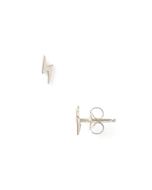Dogeared | Metallic Little Things Mini Silver Lightning Bolt Earrings | Lyst