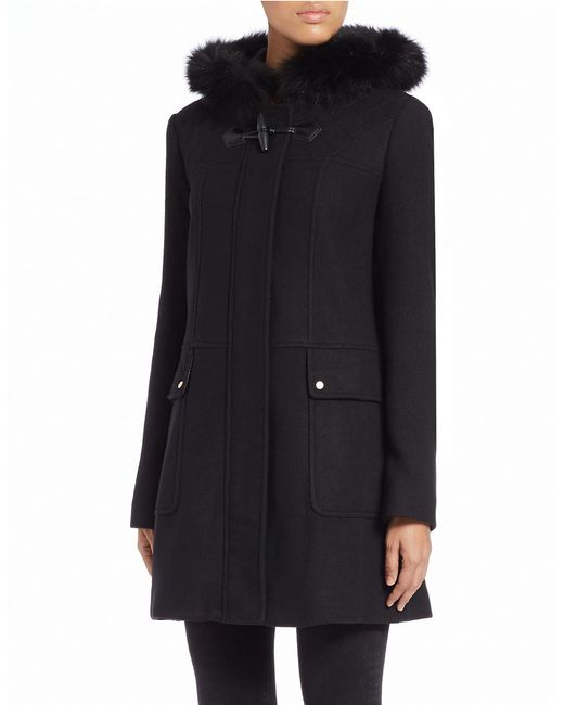 Ellen Tracy | Black Blue Fox Fur-trimmed Toggle Coat | Lyst