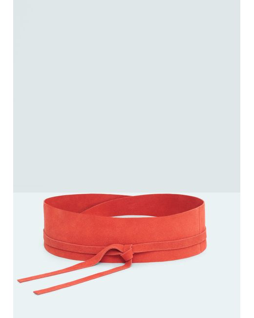mango leather obi belt in pink coral save 50 lyst