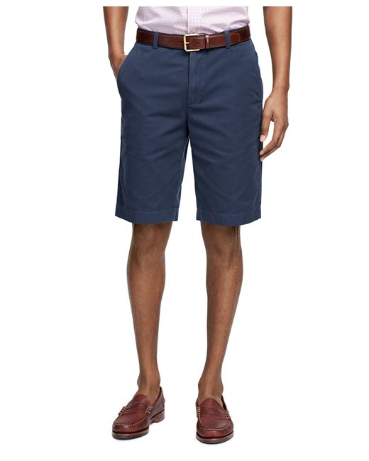 "Brooks Brothers | Blue Garment-dyed Plain-front 11"" Twill Bermuda Shorts for Men 