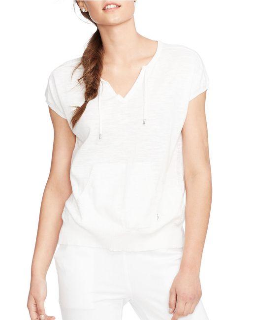 Lauren by Ralph Lauren | White Short-sleeved Cotton Sweater | Lyst