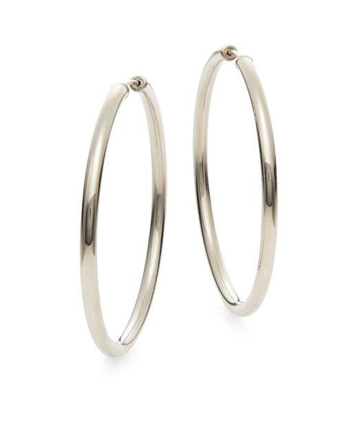 "Saks Fifth Avenue | Metallic Sterling Silver Hoop Earrings/1.75"" | Lyst"
