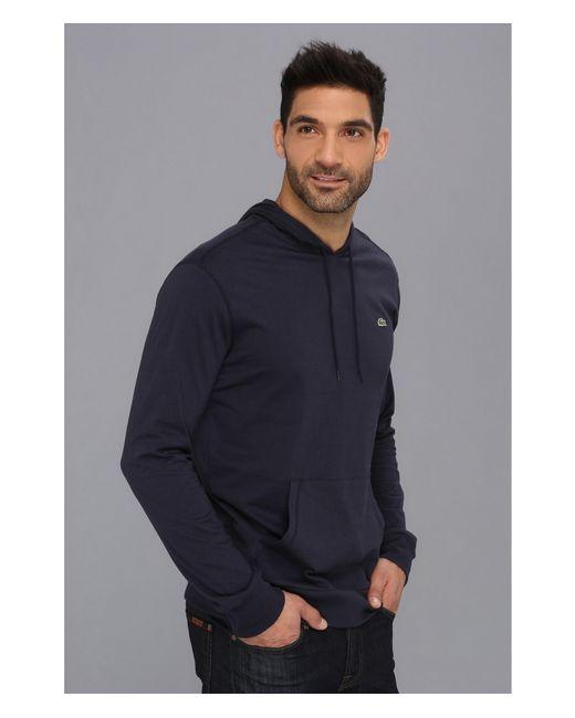 lacoste jersey tshirt hoodie in blue for men lyst