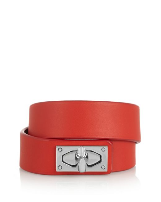 Givenchy | Red Shark Lock Bracelet In Leather And Palladium-tone Brass | Lyst