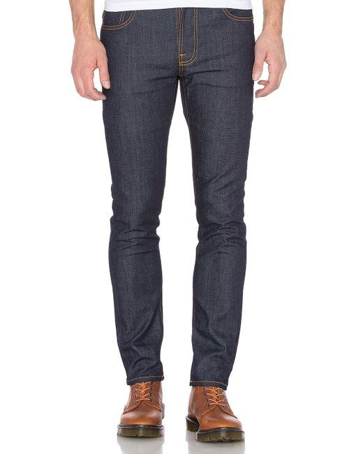 nudie jeans thin finn in blue for men dry tight broken. Black Bedroom Furniture Sets. Home Design Ideas