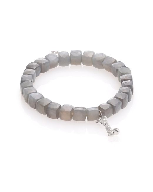 Sydney Evan | Gray Pave Dog Bone Moonstone Bead Bracelet with Diamonds | Lyst