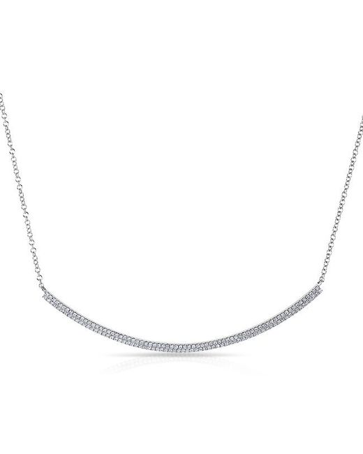 Anne Sisteron - 14kt White Gold Diamond Double Sleek Crescent Necklace - Lyst