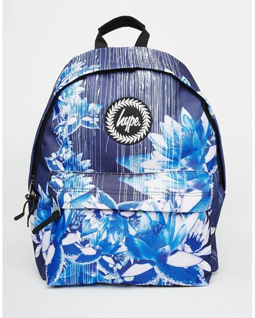 Hype Backpack In Navy Digital Floral Print In Blue (Navy) - Save 31% | Lyst