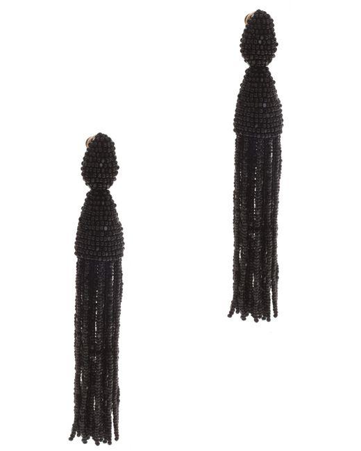 Oscar de la Renta | Black Two-tiered Short Tassel Earring | Lyst
