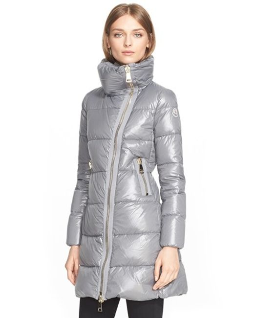 Moncler Joinville Quilted Shell Coat In Gray Anthracite