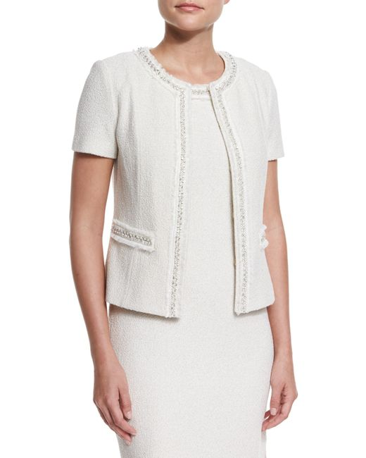 St. john Shimmer New Boucle Knit Short-sleeve Jacket in Natural Lyst