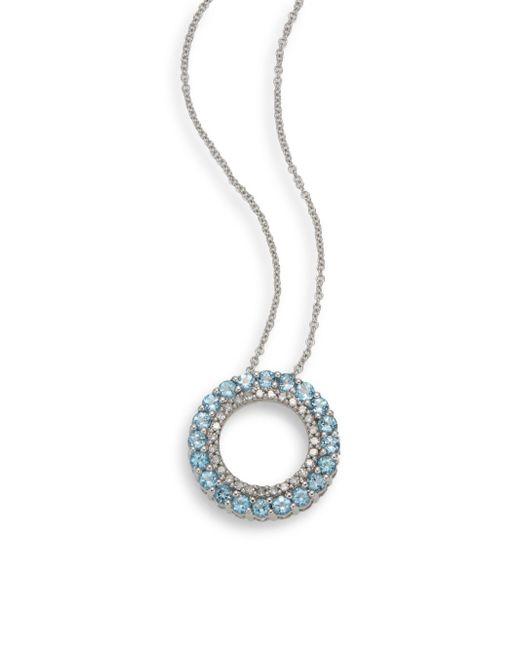Effy   Metallic Diamond, Blue Topaz & 14k White Gold Pendant Necklace   Lyst
