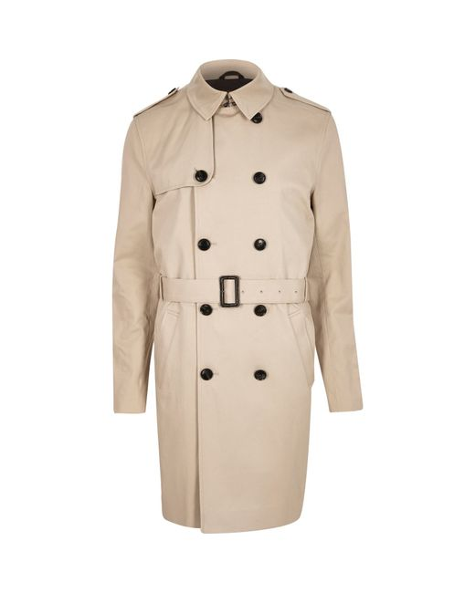 River island Stone Long Double Breasted Mac Coat in Beige for Men ...