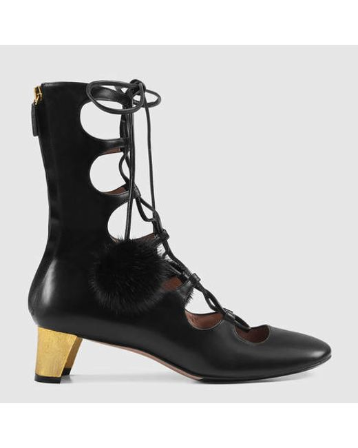 gucci leather lace up boot in black lyst