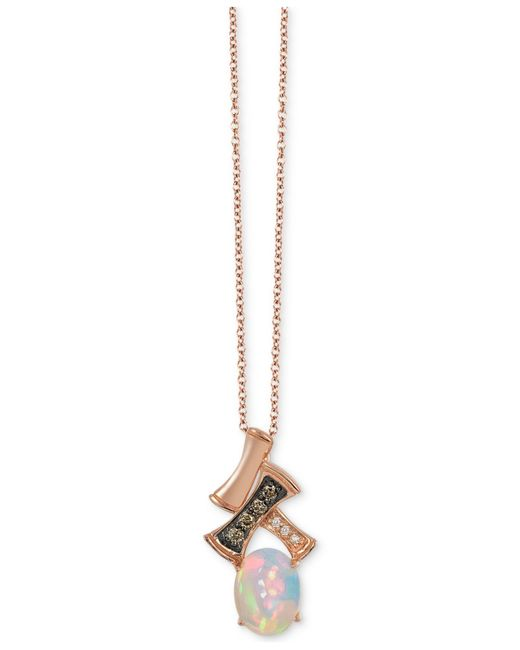 Le Vian | Pink Chocolatier® Gladiator® Opal (2/3 Ct. T.w.) And Diamond Accent Pendant Necklace In 14k Rose Gold | Lyst