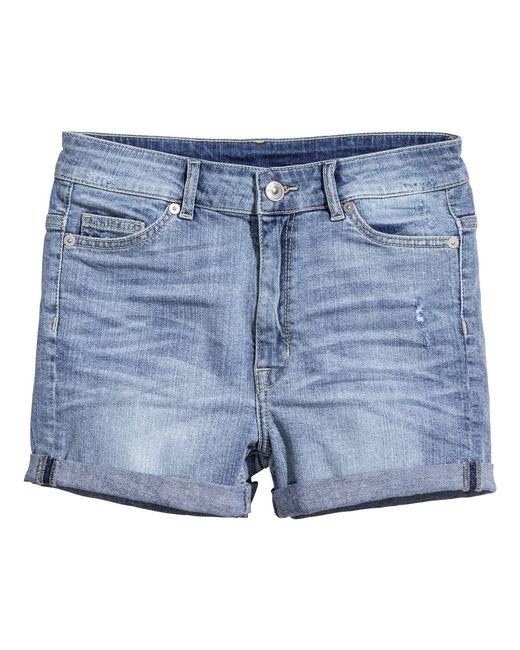 H&M   Blue Denim Shorts   Lyst