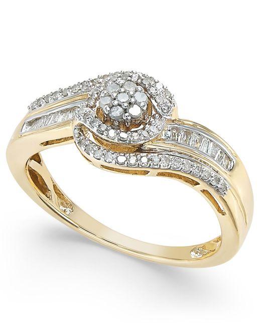 Macy s Diamond Swirl Ring 1 4 Ct T w In 10k White Yellow Gold Siz
