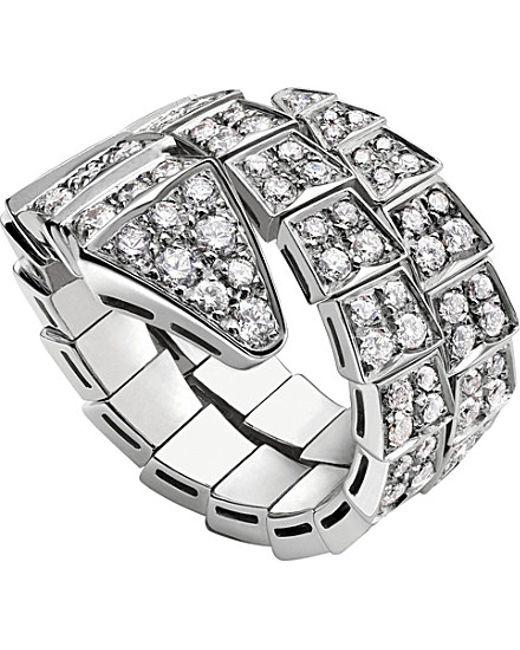 BVLGARI | Metallic Serpenti 18ct White-gold And Diamond Ring | Lyst