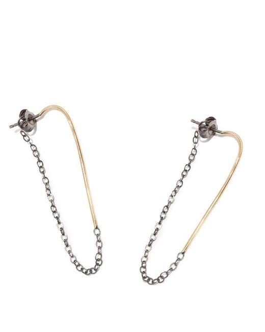 Melissa Joy Manning | Metallic Bar Hoop With Chain Wrap Earrings | Lyst