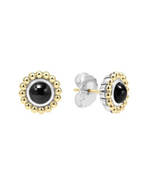 Lagos | Black Stone Stud Earrings | Lyst