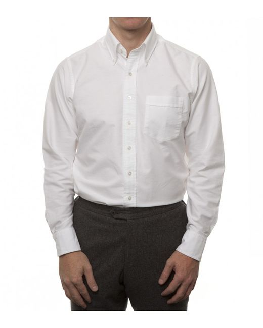 Drake 39 s pack of three white oxford regular fit shirt for White button down collar oxford shirt