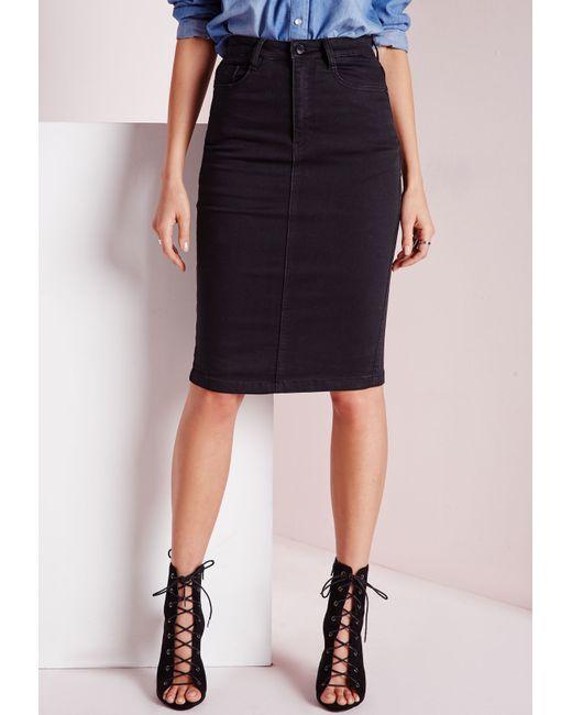 missguided high waisted midi denim skirt black in black