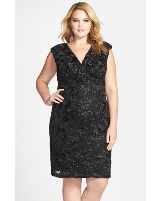 Marina | Black Soutache Embroidered Lace Dress | Lyst