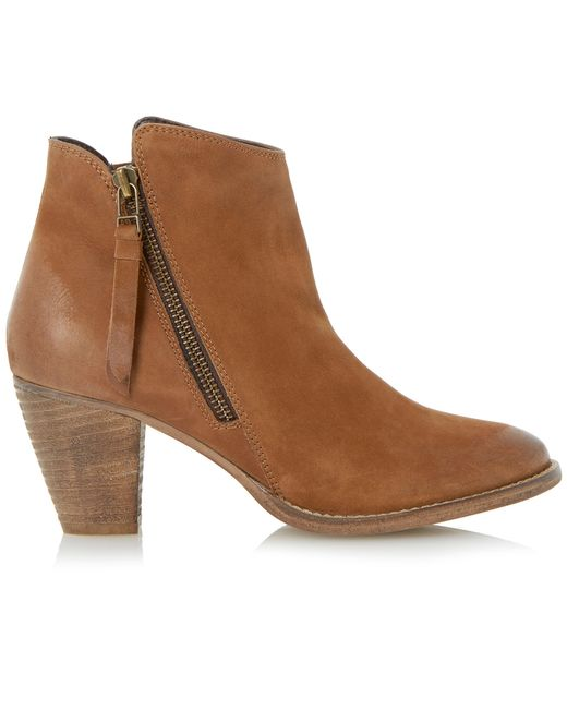 dune pollie leather ankle boots in brown save 27 lyst