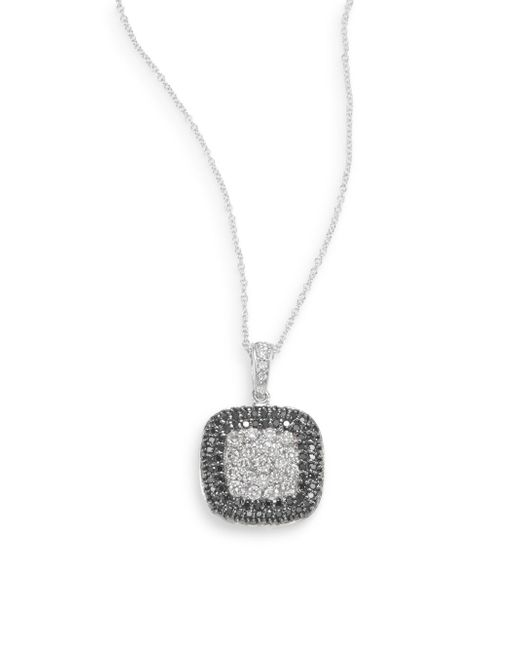 Effy   White Diamond, Black Diamond & 14k White Gold Pavà Necklace   Lyst