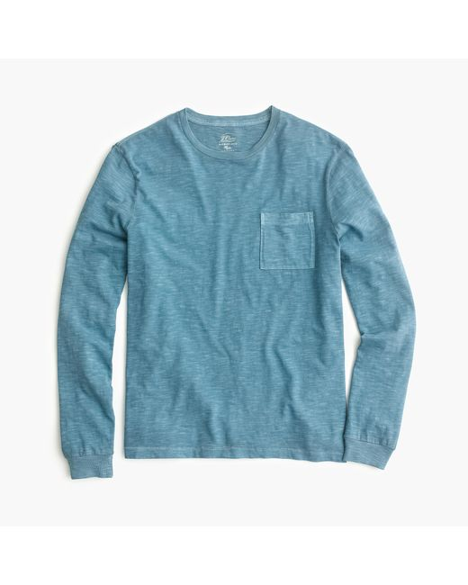 J.Crew | Blue Long-sleeve Garment-dyed T-shirt for Men | Lyst