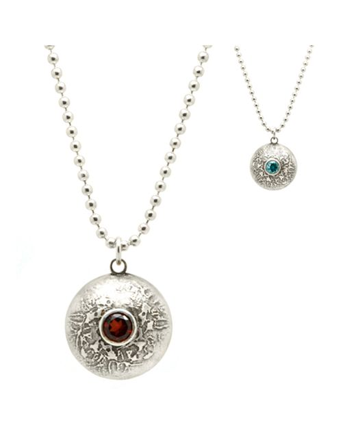 Becky Dockree Jewellery - Metallic Silver Double Gem Etched Dome Necklace - Lyst