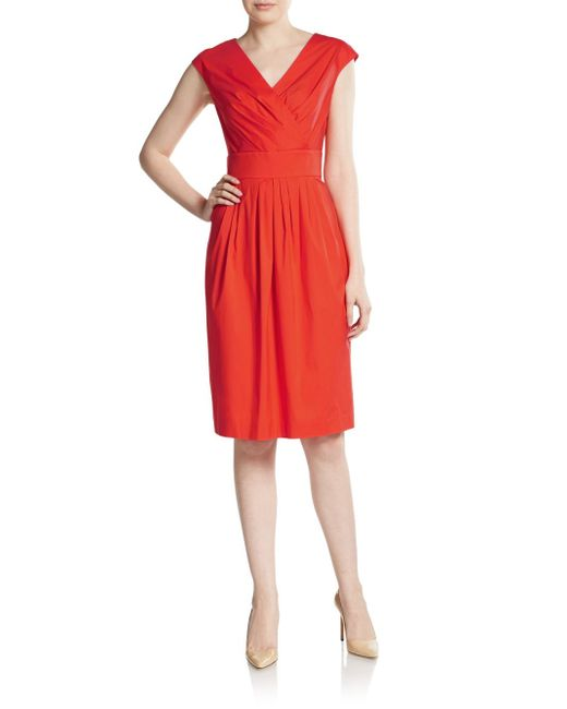 Lafayette 148 New York | Red Pleated Surplice Dress | Lyst