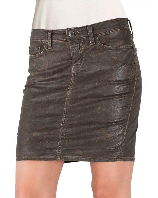 big faux leather pencil skirt in brown rustic