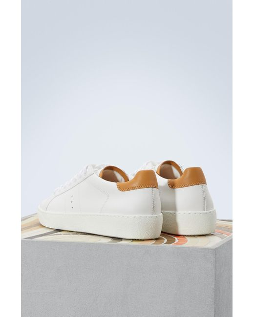 J.M. Weston And camel smooth calfskin sneakers yl1GRSarx